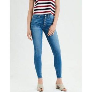 AEO Button Fly Whiskered Super High Rise Jegging